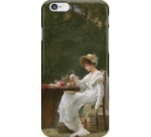 Marcus  Stone - Love At First Sight . Lovers portrait: lovers couple, woman and man, flirtation, garden, love relations, lovely couple, amorous, valentine's day, flowers, romance,  costume iPhone Case/Skin