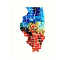 Illinois - Map Counties By Sharon Cummings Art Print