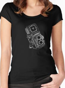 Vintage Camera chalkboard style Women's Fitted Scoop T-Shirt