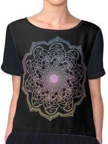 Watercolor mandala round pattern in oriental style. Chiffon Top