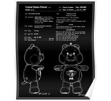 Champ Bear Patent - Black Poster