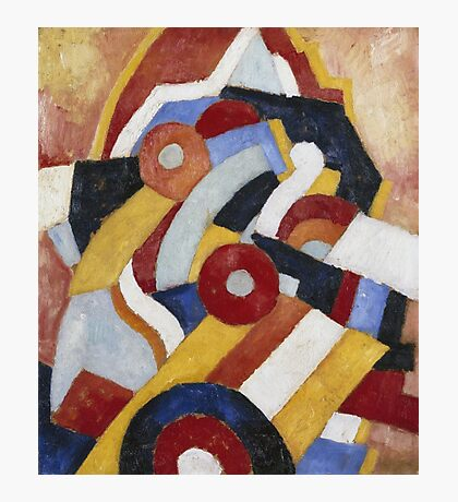 Marsden Hartley - Abstraction Blue, Yellow And Green. Abstract painting: abstract art, geometric, expressionism, composition, lines, forms, creative fusion, spot, shape, illusion, fantasy future Photographic Print