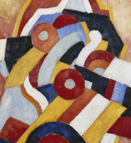 Marsden Hartley - Abstraction Blue, Yellow And Green. Abstract painting: abstract art, geometric, expressionism, composition, lines, forms, creative fusion, spot, shape, illusion, fantasy future Sticker