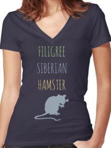 Filigree Siberian Hamster Women's Fitted V-Neck T-Shirt