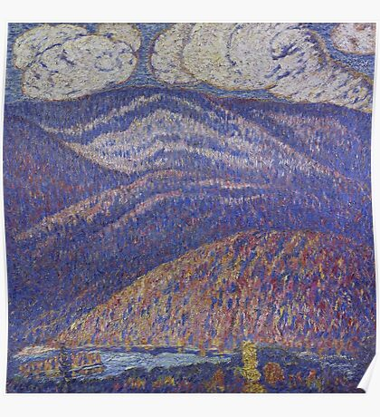 Marsden Hartley - Hall Of The Mountain King. Mountains landscape: mountains, rocks, rocky nature, sky and clouds, trees, peak, forest, rustic, hill, travel, hillside Poster