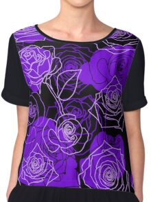 Enchantment - Purple Roses Floral Pattern Chiffon Top