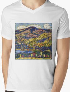 Marsden Hartley - Mountain Lake-Autumn. Mountains landscape: mountains,  Lake, rocky nature, sky and clouds, trees, peak, forest, rustic, hill, travel, Autumn Mens V-Neck T-Shirt