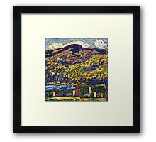 Marsden Hartley - Mountain Lake-Autumn. Mountains landscape: mountains,  Lake, rocky nature, sky and clouds, trees, peak, forest, rustic, hill, travel, Autumn Framed Print