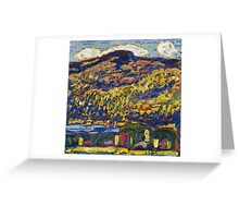 Marsden Hartley - Mountain Lake-Autumn. Mountains landscape: mountains,  Lake, rocky nature, sky and clouds, trees, peak, forest, rustic, hill, travel, Autumn Greeting Card