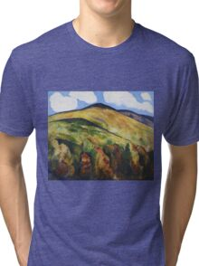 Marsden Hartley - Mountains No. 22. Mountains landscape: mountains, rocks, rocky nature, sky and clouds, trees, peak, forest, rustic, hill, travel, hillside Tri-blend T-Shirt