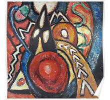 Marsden Hartley - Movements. Abstract painting: abstract art, geometric, expressionism, composition, lines, forms, creative fusion, spot, shape, illusion, fantasy future Poster