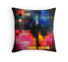 Colorful Tropical Collage Mosaic Throw Pillow