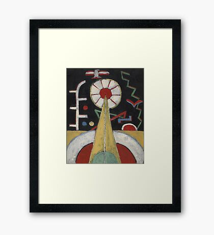 Marsden Hartley - Painting No. 3. Abstract painting: abstract art, geometric, expressionism, composition, lines, forms, creative fusion, spot, shape, illusion, fantasy future Framed Print