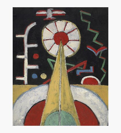 Marsden Hartley - Painting No. 3. Abstract painting: abstract art, geometric, expressionism, composition, lines, forms, creative fusion, spot, shape, illusion, fantasy future Photographic Print