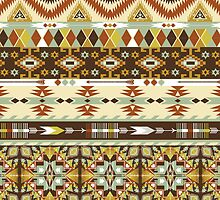 Navajo colorful  tribal pattern with geometric elements by Olena Syerozhym
