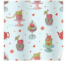 Cupcake seamless pattern Poster