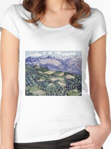 Marsden Hartley - Purple Mountains, Vence. Mountains landscape: mountains, rocks, rocky nature, sky and clouds, trees, peak, forest, Purple Mountains, hill, travel, hillside Women's Fitted Scoop T-Shirt