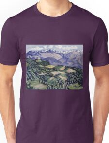 Marsden Hartley - Purple Mountains, Vence. Mountains landscape: mountains, rocks, rocky nature, sky and clouds, trees, peak, forest, Purple Mountains, hill, travel, hillside Unisex T-Shirt