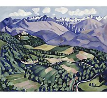 Marsden Hartley - Purple Mountains, Vence. Mountains landscape: mountains, rocks, rocky nature, sky and clouds, trees, peak, forest, Purple Mountains, hill, travel, hillside Photographic Print