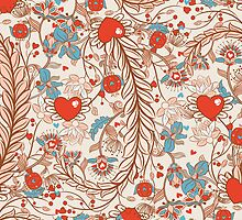 Seamless valentines decor pattern with flowers and hearts by tomuato
