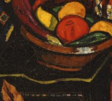 Marsden Hartley - Still Life . Still life with fruits and vegetables: still life with fruits and vegetables, fruit, vegetable, grapes, tasty, gastronomy food, flowers, dish, cooking, kitchen, vase Sticker