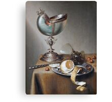 Marten Boelema De Stomme - Still-Life With Nautilus Cup . Still life with fruits and vegetables: Nautilus Cup , lemon, knife, gastronomy food, nuts, dish, glass, kitchen, vase Canvas Print