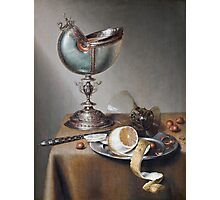 Marten Boelema De Stomme - Still-Life With Nautilus Cup . Still life with fruits and vegetables: Nautilus Cup , lemon, knife, gastronomy food, nuts, dish, glass, kitchen, vase Photographic Print