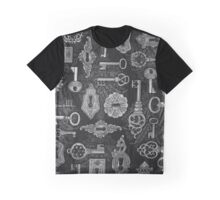 Steampunk Silver Keys and Key Holes Pattern Graphic T-Shirt
