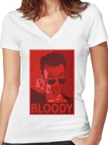 CASSIDY BLOODY RED Women's Fitted V-Neck T-Shirt