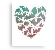 Bat Heart; blue/pink ombre Metal Print