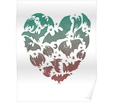Bat Heart; blue/pink ombre Poster