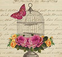 Vintage Birdcage with Flowers and Butterfly by claryce84