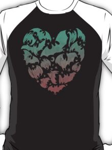 Bat Heart; blue/pink ombre T-Shirt