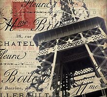 Eiffel Tower with Red Stamp by claryce84