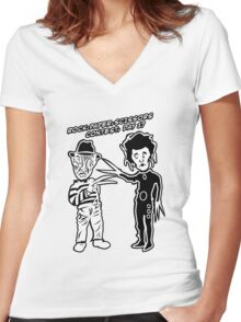 Ec & Fred Scissors Contest Women's Fitted V-Neck T-Shirt