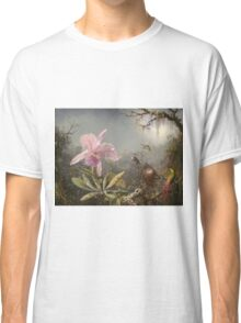 Martin Johnson Heade - Cattleya Orchid And Three Hummingbirds. Lake landscape: trees, river, land, forest, marine coast seaside, waves and beach, lagoon reflection, sun clouds, nautical panorama, lake Classic T-Shirt