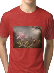 Martin Johnson Heade - Cattleya Orchid And Three Hummingbirds. Lake landscape: trees, river, land, forest, marine coast seaside, waves and beach, lagoon reflection, sun clouds, nautical panorama, lake Tri-blend T-Shirt