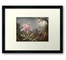 Martin Johnson Heade - Cattleya Orchid And Three Hummingbirds. Lake landscape: trees, river, land, forest, marine coast seaside, waves and beach, lagoon reflection, sun clouds, nautical panorama, lake Framed Print
