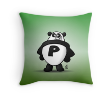 Panda power throw pillow