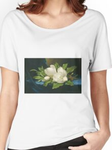 Martin Johnson Heade - Giant Magnolias On A Blue Velvet Cloth. Still life with flowers: flowers, hummingbird, nest, orchid,  lotus blossom, wonderful flower, forest, passion flowers, garden, magnolias Women's Relaxed Fit T-Shirt
