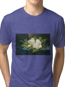 Martin Johnson Heade - Giant Magnolias On A Blue Velvet Cloth. Still life with flowers: flowers, hummingbird, nest, orchid,  lotus blossom, wonderful flower, forest, passion flowers, garden, magnolias Tri-blend T-Shirt