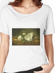 Martin Johnson Heade - Magnolias On Gold Velvet Cloth 1888. Still life with flowers: hummingbird, nest, orchid,  lotus blossom, wonderful flower, forest, passion flowers, garden, magnolias Women's Relaxed Fit T-Shirt