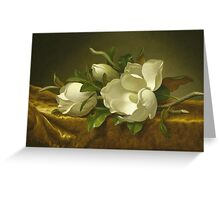 Martin Johnson Heade - Magnolias On Gold Velvet Cloth 1888. Still life with flowers: hummingbird, nest, orchid,  lotus blossom, wonderful flower, forest, passion flowers, garden, magnolias Greeting Card