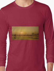 Martin Johnson Heade - Marsh Sunset, Newburyport, Massachusetts. Field landscape: field landscape, nature, village, garden, flowers, trees, sun, rustic, countryside, sky and clouds, summer Long Sleeve T-Shirt