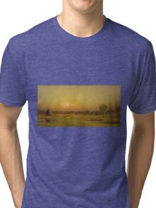 Martin Johnson Heade - Marsh Sunset, Newburyport, Massachusetts. Field landscape: field landscape, nature, village, garden, flowers, trees, sun, rustic, countryside, sky and clouds, summer Tri-blend T-Shirt