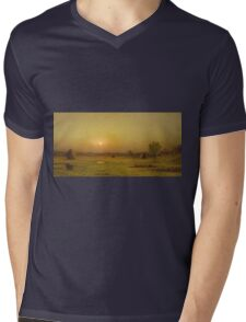 Martin Johnson Heade - Marsh Sunset, Newburyport, Massachusetts. Field landscape: field landscape, nature, village, garden, flowers, trees, sun, rustic, countryside, sky and clouds, summer Mens V-Neck T-Shirt