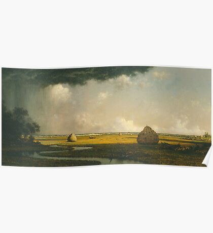 Martin Johnson Heade - Marshfield Meadows, Massachusetts 1876. Field landscape: field landscape, nature, village, garden, flowers, trees, sun, rustic, countryside, sky and clouds, summer Poster