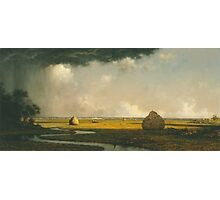 Martin Johnson Heade - Marshfield Meadows, Massachusetts 1876. Field landscape: field landscape, nature, village, garden, flowers, trees, sun, rustic, countryside, sky and clouds, summer Photographic Print