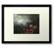 Martin Johnson Heade - Martin Johnson Heade. Garden landscape: garden view, trees and flowers, blossom,  lotus blossom, botanical park, orchid, wonderful flowers, sky, passion, magnolias, hummingbird Framed Print