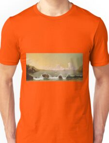 Martin Johnson Heade - Rio De Janeiro Bay. Seashore landscape: sea view, yachts, holiday, sailing boat, coast seaside, waves and beach, marine, seascape, sun and clouds, nautical panorama, ocean Unisex T-Shirt